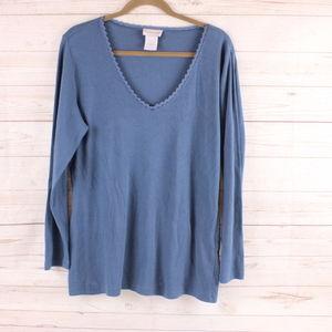Soft Surroundings 1X  Top Shirt Modal Blue